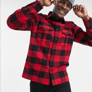Selected Homme buffalo check overshirt in red